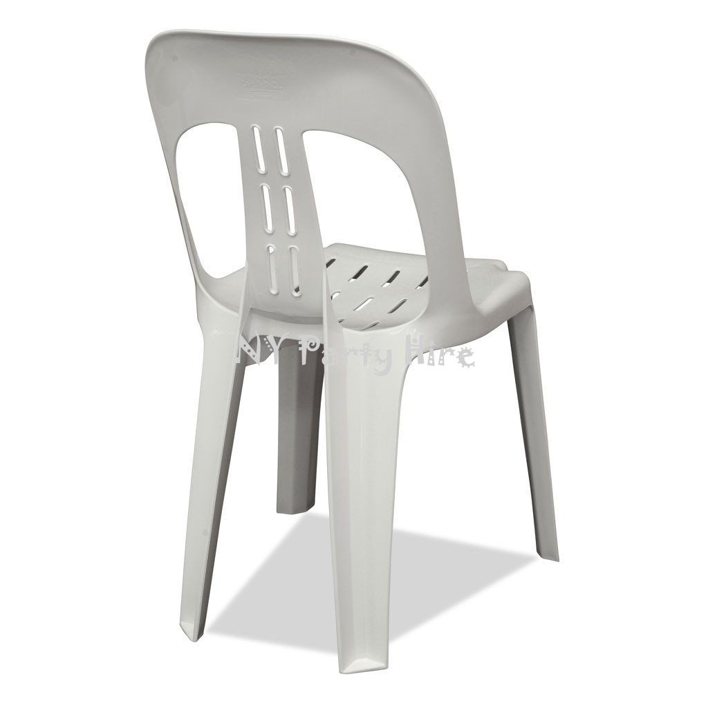 white plastic chairs ny party hire