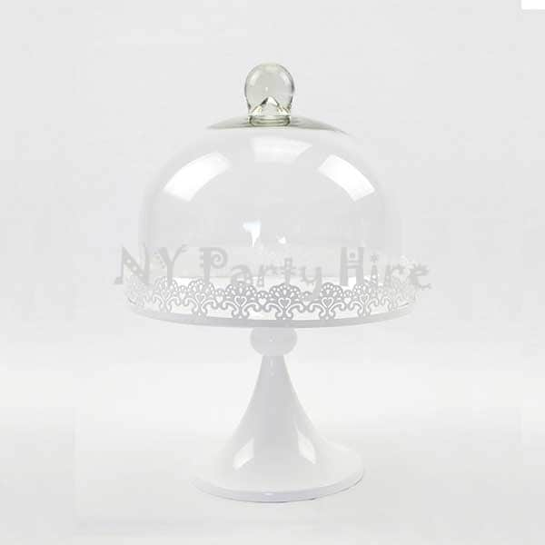 Cake Stand With Dome Part - 49: Ny-party-hire-lace-cake-stand-with-dome-